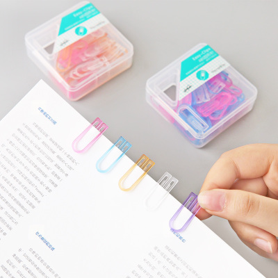 3PCS/LOT Colorful ABS Plastic Paper Clip Creative Portable Office Organizer Paper Clips 60 Clips Per Box