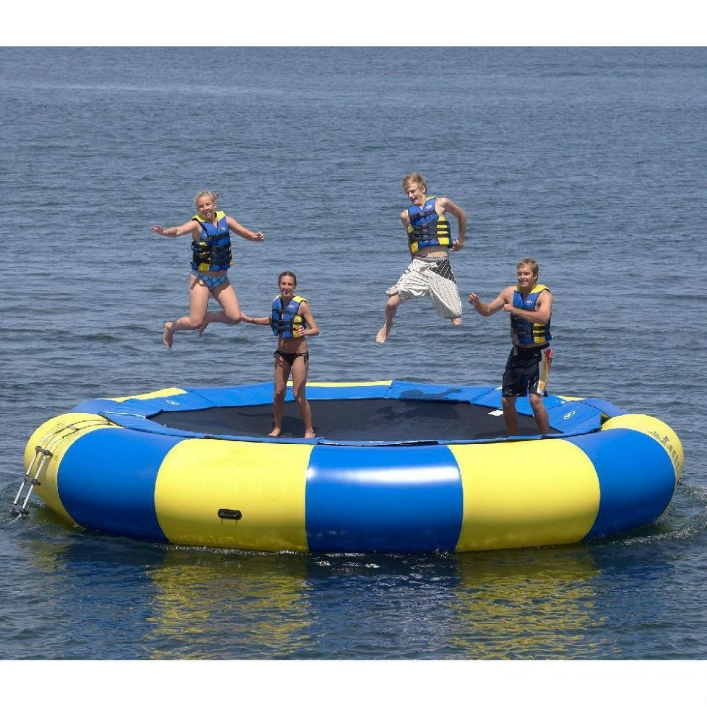 water trampoline 4 M diameter 0.6mm PVC inflatable trampoline or inflatable bouncer water park used 4 1m red colour inflatable towable tube crazy ufo flying boat inflatable water sofa for summer water park