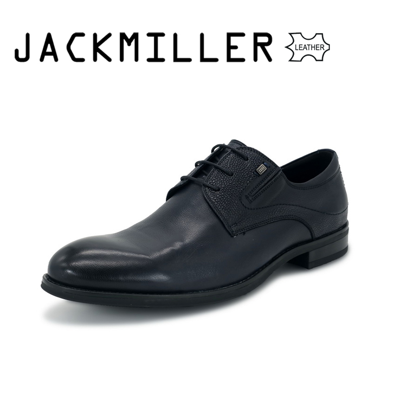 Jackmiller Men Dress Shoes Genuine Leather Luxury Wedding Oxford Business Office Formal Shoes Round Toe Lace