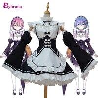 Bybrana Anime Halloween Party Costumes Ram Re Zero Cosplay Rem Anime Costume For Women