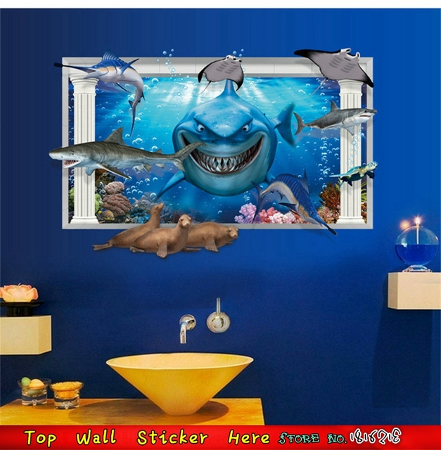 Superb 3D Shark Wall Stickers Big Teeth Whale Dolphin Sea Animals Finding Nemo  Wall Decals, Blue Part 27
