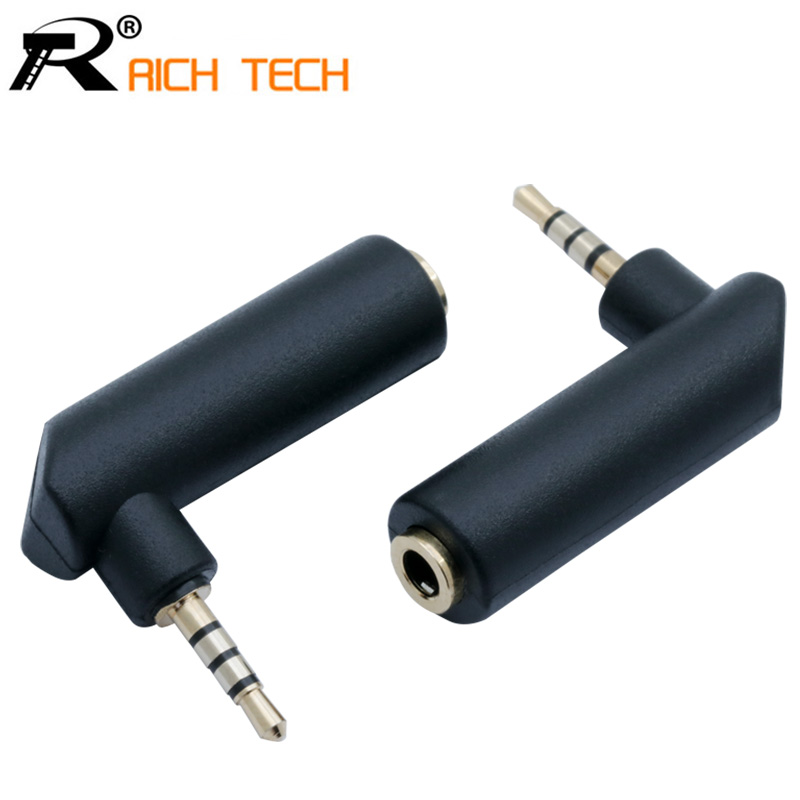 3pcs/pack Gold Plated Right Angle Jack 3.5mm Female To 2.5mm 4 Poles Stereo Male Plug R Connector Earphone Adapter DIY Project