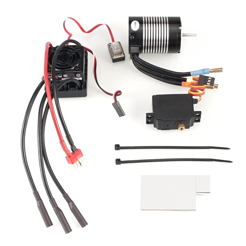 Image 5 - WLtoys 12428 Upgrade parts 3300KV brushless motor 60A ESC servo power set components Third channel switch Metal differential-in Parts & Accessories from Toys & Hobbies