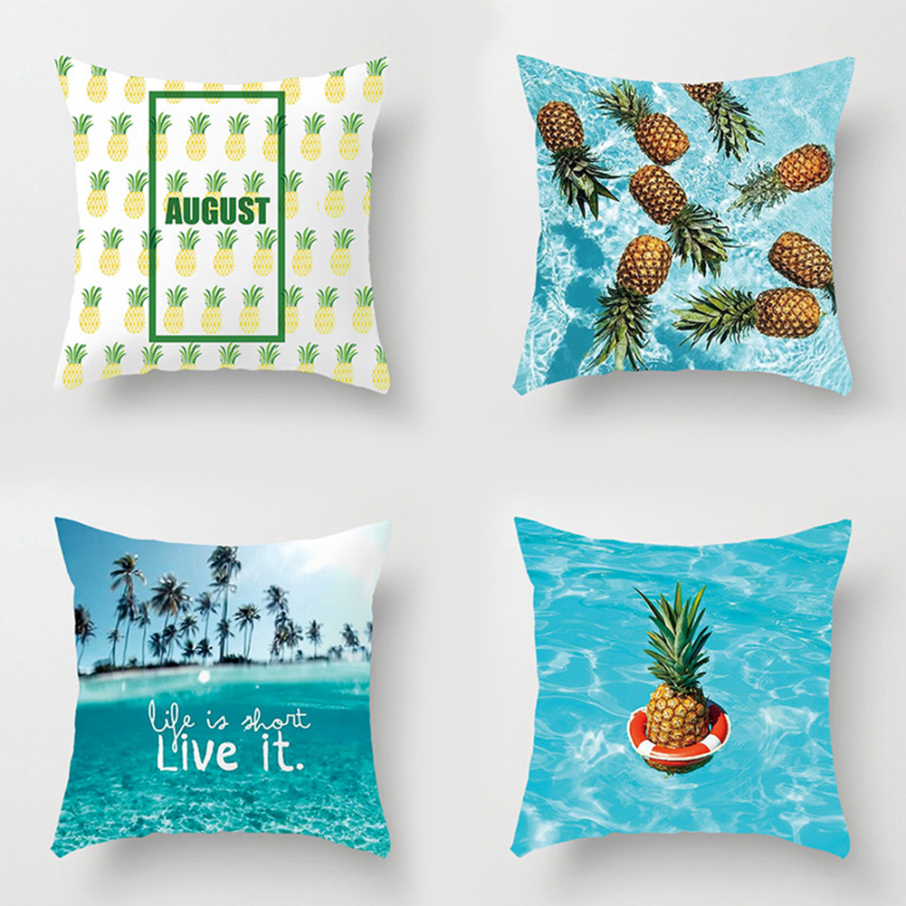 Cute Pineapple Summer Pattern Cushion Cover Peach Skin Throw Pillow Case Cafe Sofa Bed Decoration