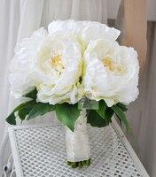 El yapımı Düğün Gelin Buketi Çiçek Gelin Nedime Buketleri Yapay Çiçek Beyaz Açık Şakayık Çiçekleri Ev Dekorasyon