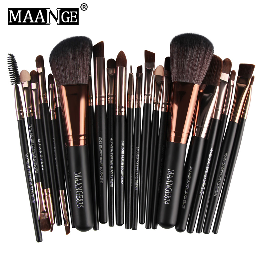 MAANGE Pro 22pcs Cosmetic Makeup Brushes Set Blusher Eye Shadow Brow Lip Powder Foundation Make Up Brush Kit Beauty Essentials 10pcs professional makeup brushes set powder foundation eye shadow beauty face blusher cosmetic brush blending tools sx14