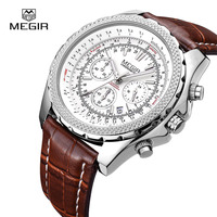 MEGIR Quartz Men Watches Top Brand Luxury Fashion Casual Business Watch Clock Men Leather Strap Relogio