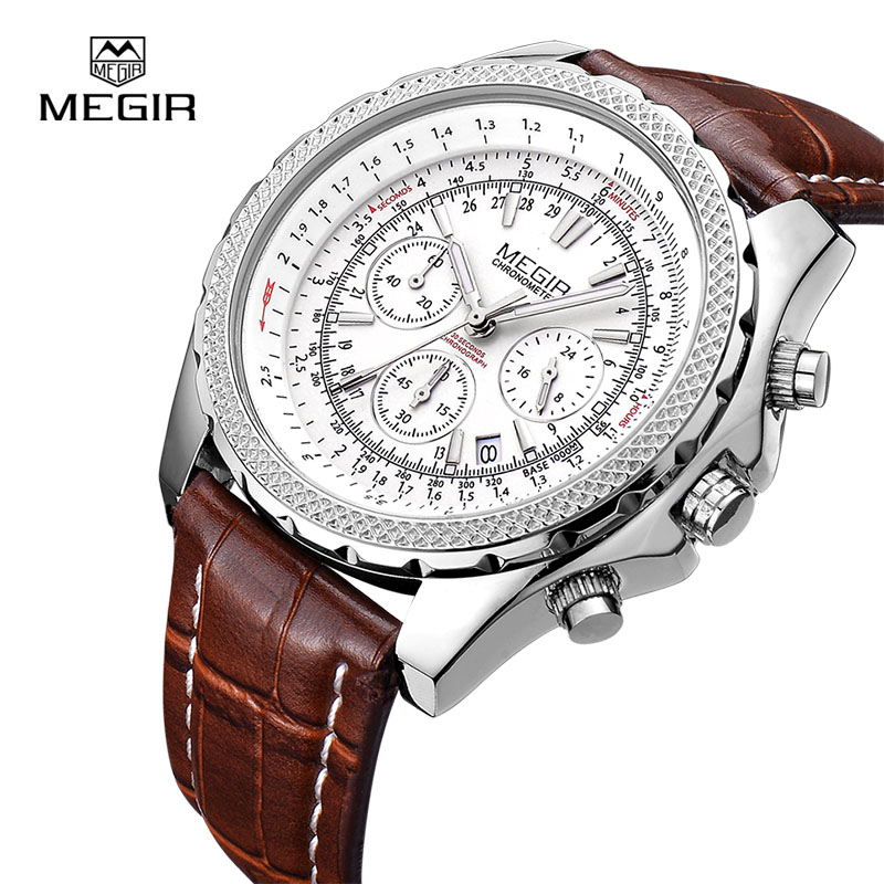 MEGIR Quartz Men Watches Top Brand Luxury Fashion Casual Business Watch Clock Men Leather Strap Relogio Masculino 2007 купить недорого в Москве