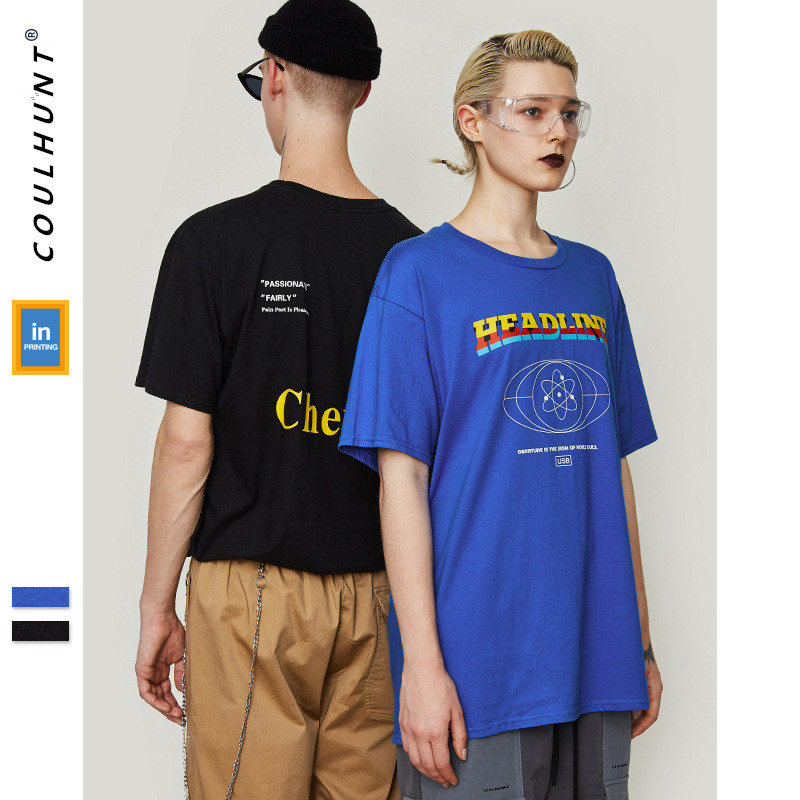2019 Funny Printed Short Sleeve T-shirts Men Skateboard Casual Wear Couple Tee Summer Streetwear Cotton Short Sleeve T Shirts