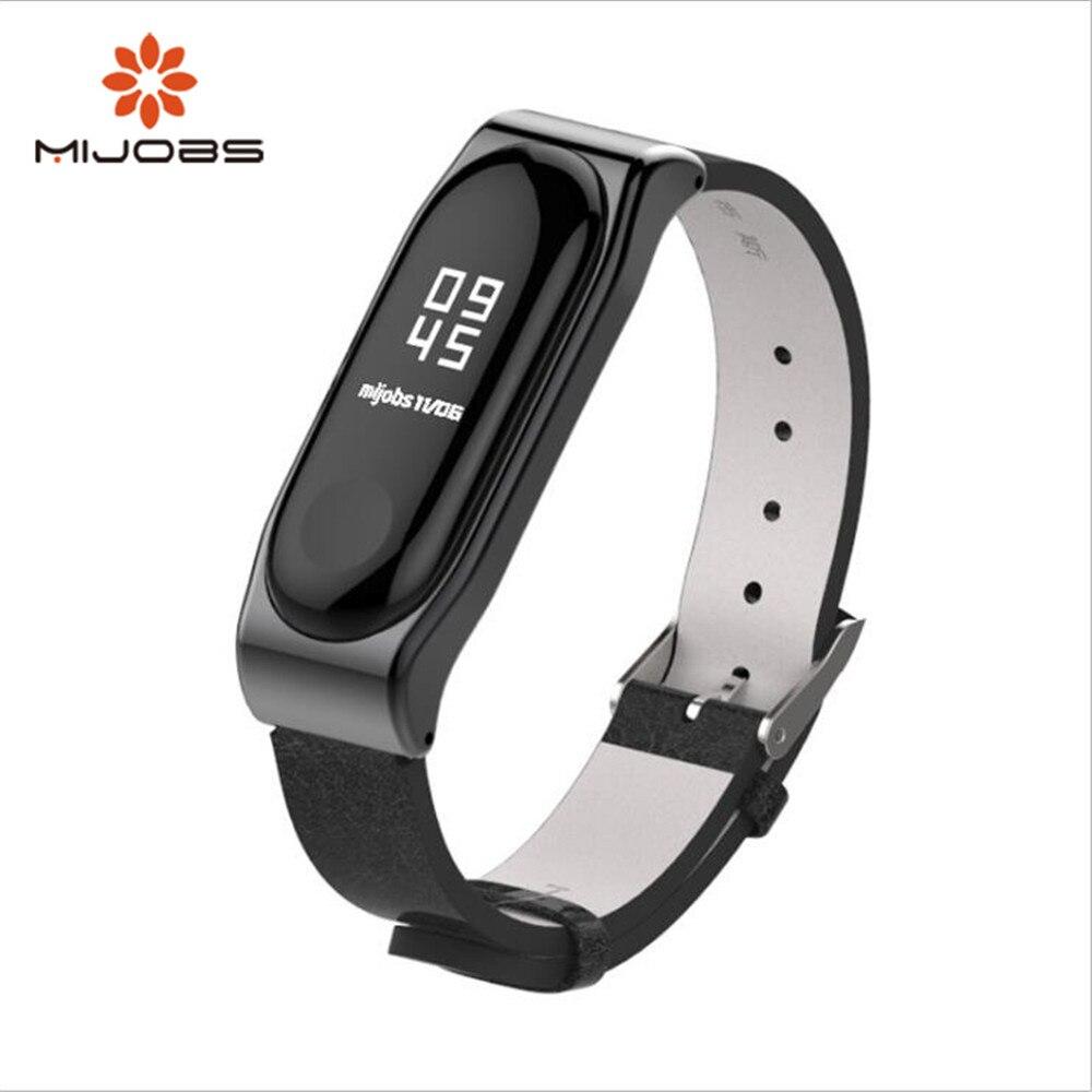 все цены на Mijobs mi band 3 Strap Crazy horse PU Strap Smart Watch Screwless Bracelet Miband 3 Strap Screwless Wrist For Xiaomi Mi Band 3