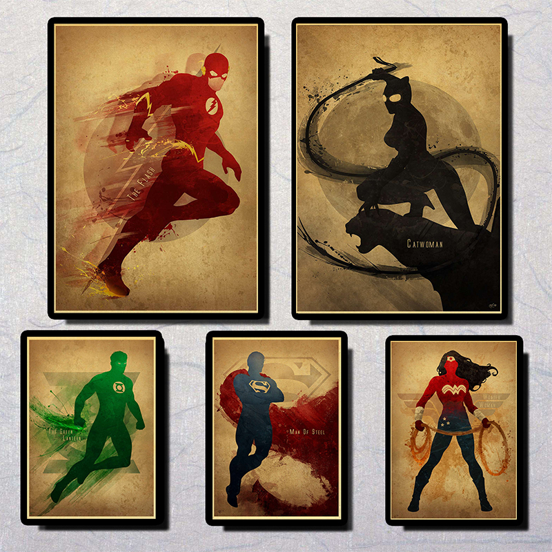 Marvel Comics  Superhero Superman Batman  Poster High Quality Vintage Poster Wall Painting  For Kids Room  Coffee Bar Decor