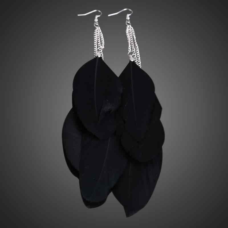 3 colores pendientes de plumas moda vintage pluma stassel largos pendientes de gancho colgantes para mujer pendientes 2019 regalos de fiesta