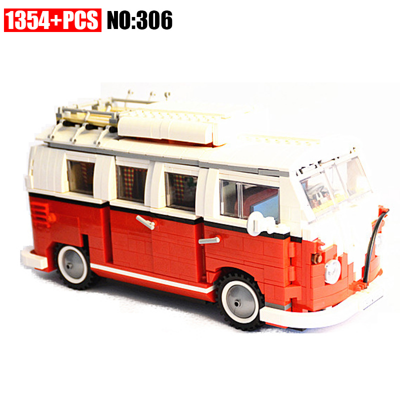 AIBOULLY 306 New 1354Pcs Creator Volkswagen T1 Camper Van Model Building Kits minis Bricks Toys Compatible 10220 21001 in stock lepin 21001 1354pcs volkswagen t1 camper van model building kits bricks diy blocks toys compatible legoings 10220