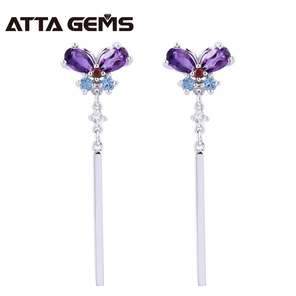 Boucles d'oreilles en argent Sterling améthyste naturelle pour femmes bijoux fins Style élégant topaze naturelle Top qualité boucles d'oreilles anniversaire