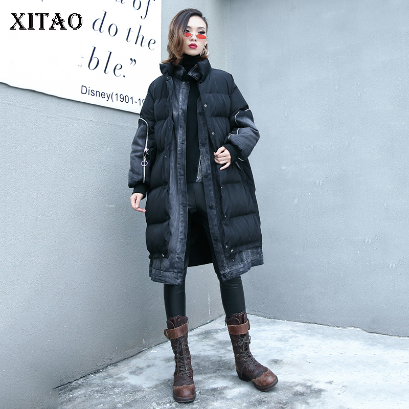 [XITAO] 2018 Winter Korea Fashion New Women Stand Collar Full Sleeve Pocket Female Solid Color Long Casual   Parka   LYH1396
