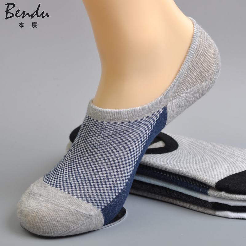 5 Pairs / Lot Men Cotton No Show Socks Anti-Slip Slippers Comfortable Deodorant Breathable Casual Young Colorful Man Sock