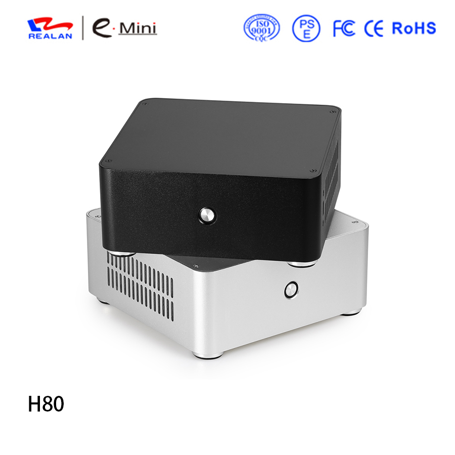 купить Realan H80 Mini ITX computer case Aluminum HTPC case Chassis with power supply free shipping по цене 3589.59 рублей