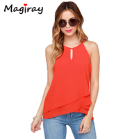 New Arrival 2015 Tropical Blusa Feminina Fashion Ruffle Irregular Hem Line Pullover O Neck Chiffon Blouse