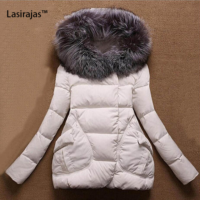 New Fashion Women's Hoodie Jacket Wide-waisted Solid  Long Sleeve Cotton Liner Pockets Zippers Fur Collar Winter Women's Coat