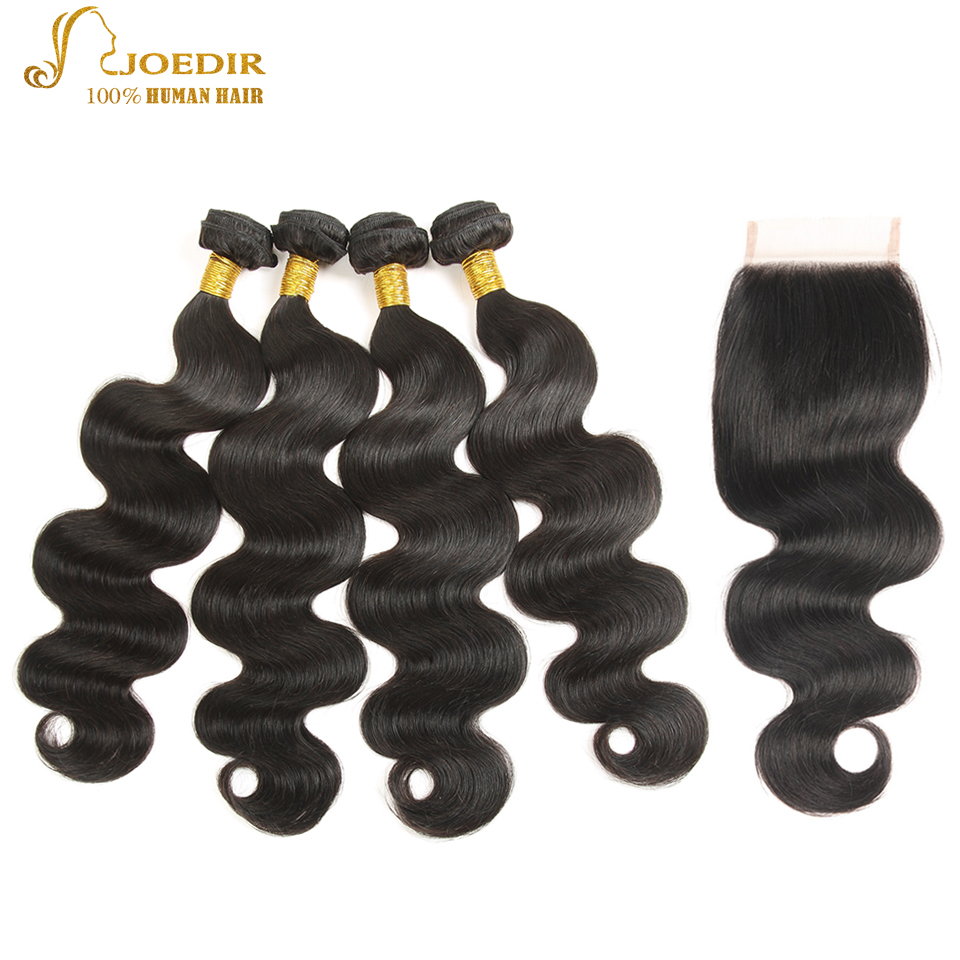 JOEDIR Hair Pre-colored Indian Body Wave Closure 4*4 100% Human Hair 4 Bundles With Closure Non Remy Hair Extensions ...
