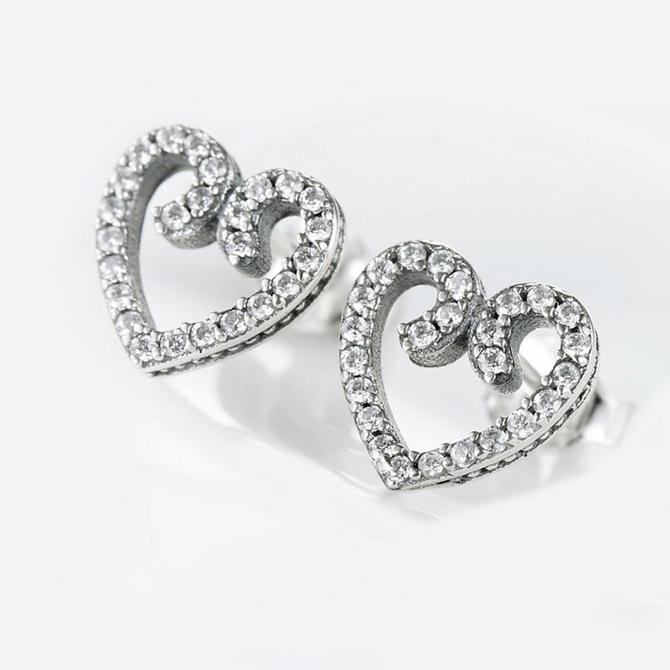 4feb9b686 Authentic 925 Silver Earring For Women Heart Swirls Stud Earrings Clear CZ  Girl Birthday Gift fit Lady Jewelry-in Stud Earrings from Jewelry &  Accessories ...