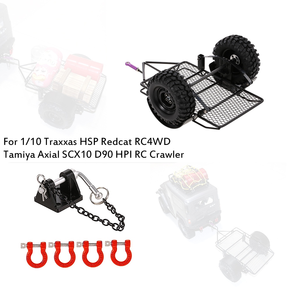 RC Car Trailer Hopper Trail Tow D-Ring Shackle Trailer Lock for 1:10 Traxxas HSP Redcat RC4WD Tamiya Axial SCX10 D90 HPI Crawler rc led roof light bar for 1 8 1 10 hsp hpi kyosho traxxas 4wd rc car monster truck axial scx10 tamiya cc01 rc4wd d90 rc crawler
