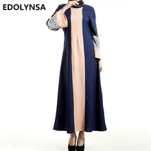 2017 Muslim Dresses Fashion Soft Muslim Dress Brand Abaya Dress Vintage Robe Patchwork Robe Knitting Casual Dresses Kaftan #D409