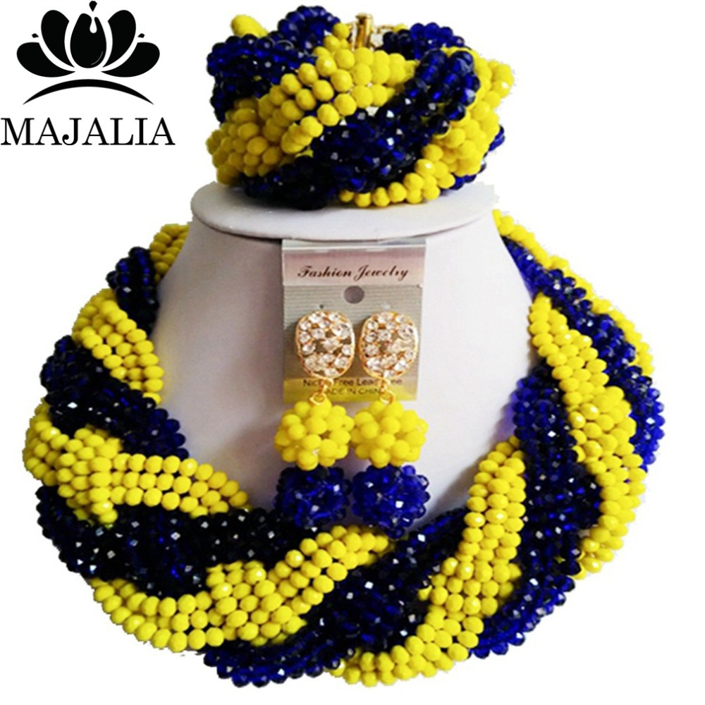 2017 Fashion african beads jewelry set blue and yellow Nigeria Wedding Crystal necklace Bridal Jewelry sets Free shipping VV-047