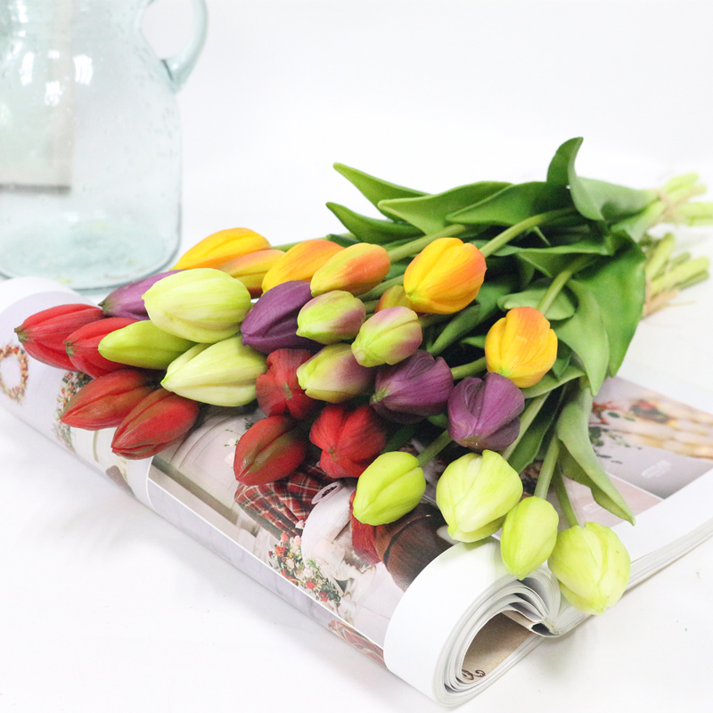 JAROWN Simulation Of Real Tactile Tulip Artificial High Quality Latex Tulip Bouquet Flores For Wedding Decoration Home Decor (17)