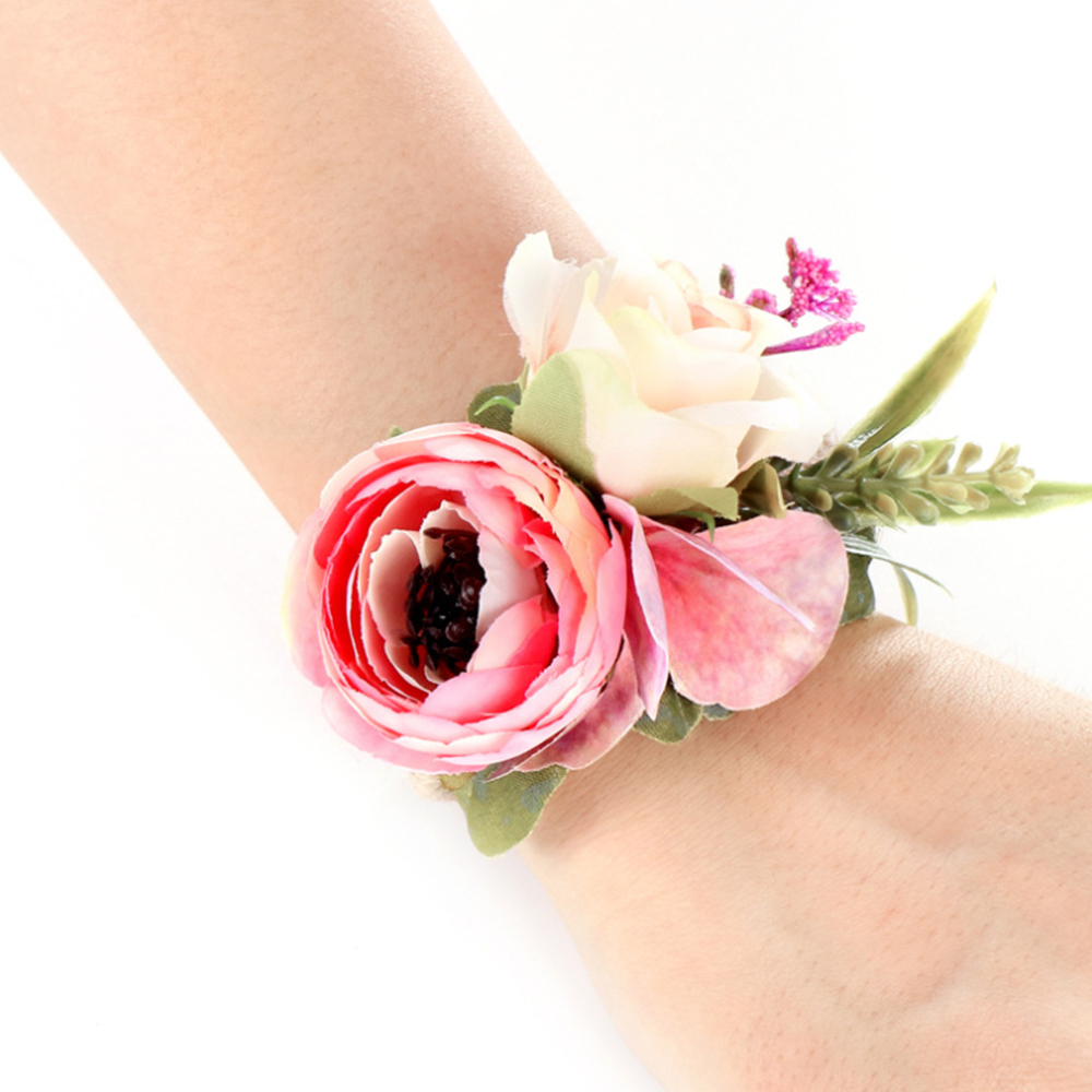 Wedding Bridesmaid Bridal Wrist Corsage Woodland Woven Straw Cuff Bracelet For Wedding Prom Accessories Hand Flowers