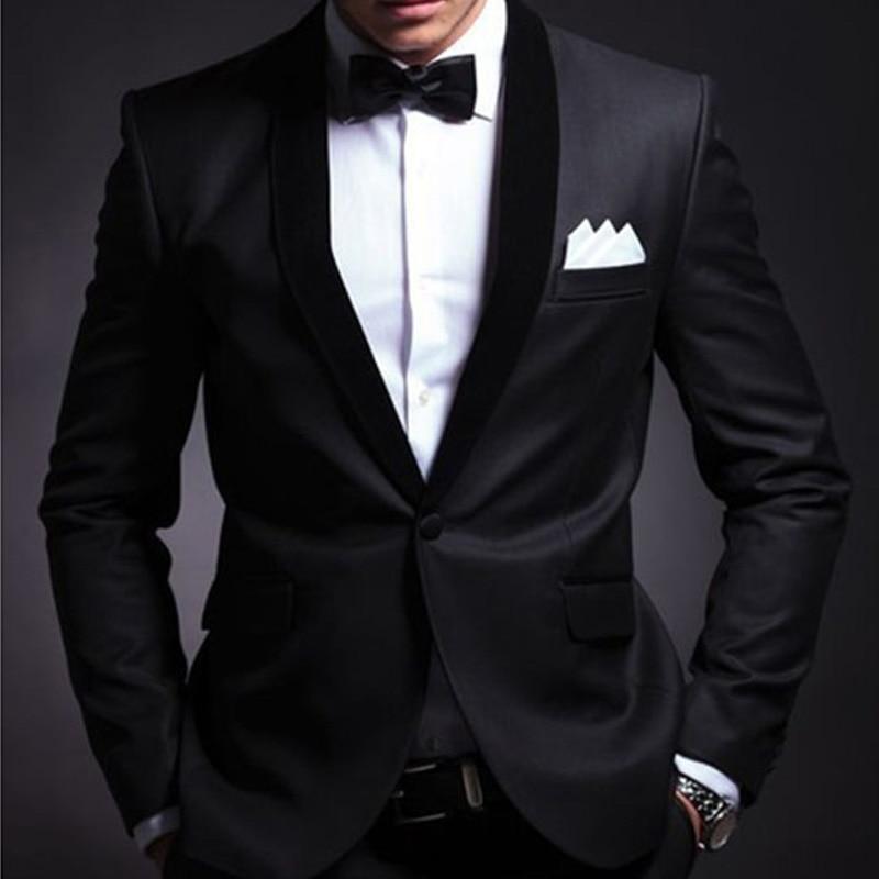 Black Slim Fit Men Suits For Wedding Groom Tuxedos 2 Piece Set Shawl Lapel Custom Prom Business Boyfriend Jacket Pants