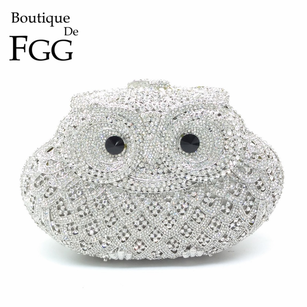 Boutique De FGG Sparkling Bling Silver Owl Minaudiere Clutch Women Small Crystal Evening Handbags Wedding Party Cocktail Bag