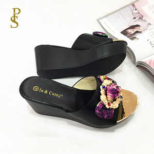 Image 4 - Women wedges slippers Comfortable PU sole high heel for women