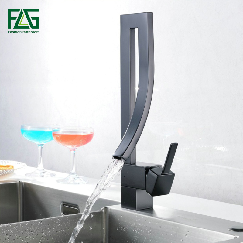 FGL New Square Kitchen Faucet Deck Mounted Kitchen Mixer Water Tap Black Waterfall Cold & Hot Sink Faucet 183 33B