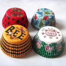 100 шт 4 дизайна красная леди жук/Золотая Пчела/зеленый медведь/синий динозавр на день рождения кекс Лайнер Маффин форма для выпечки торта