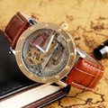 TIEDAN Mechanical Watch Automatic  Transparent Skeleton Watch For Men Brown Formal Business Luxury Wristwatch Self Wind Relogio
