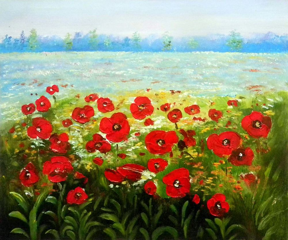 New Year Gift Living Room Decorative Art Canvas Oil Painting Landscape Flower Painting Poppies in the Wild Hand Painted 100%New Year Gift Living Room Decorative Art Canvas Oil Painting Landscape Flower Painting Poppies in the Wild Hand Painted 100%