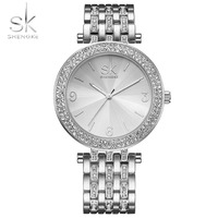 Shengke Luxury Women Watch Brands Crystal Sliver Dial Fashion Design Bracelet Watches Ladies Womenwrist Watches Relogio