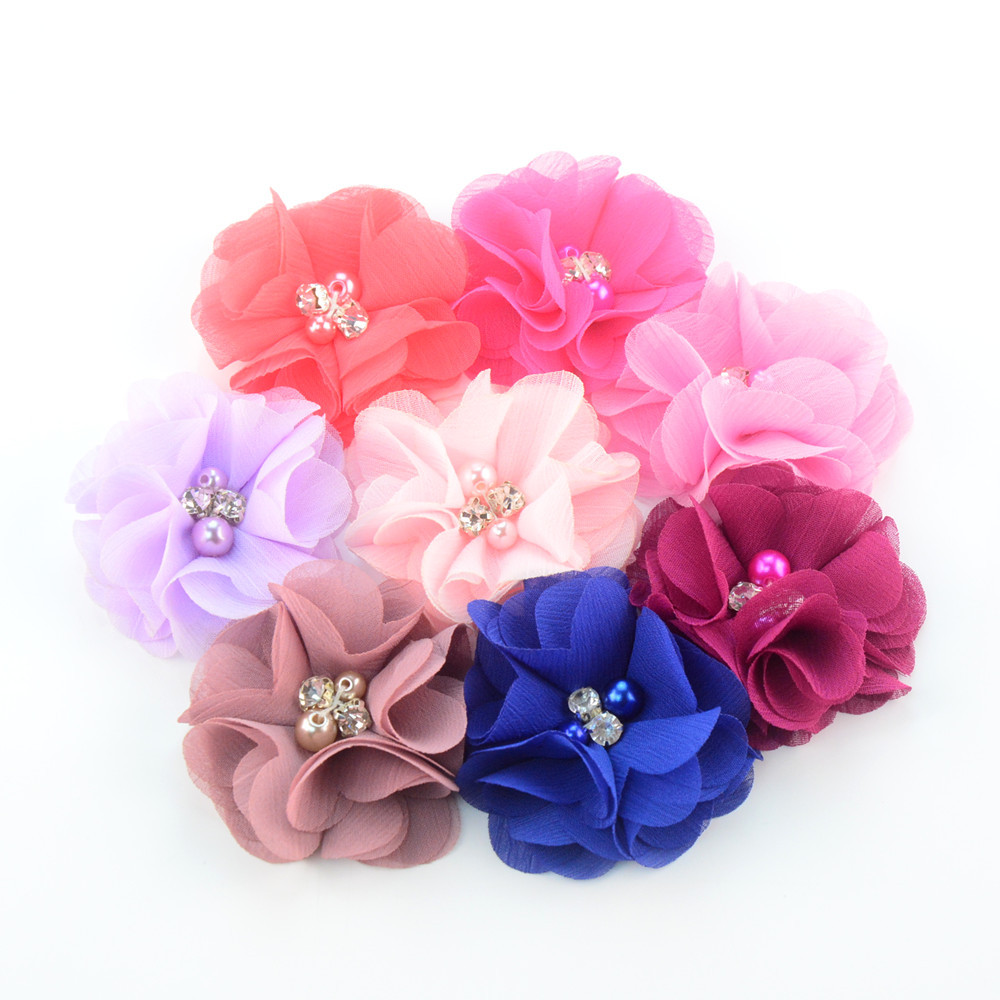 7pcs Chiffon Flower Available With Hair Clips Hair Strap Dog Collar Pet Slide Bows Diy Jewelry Accessories Xlz9383 For Fast Shipping Hair Accessories