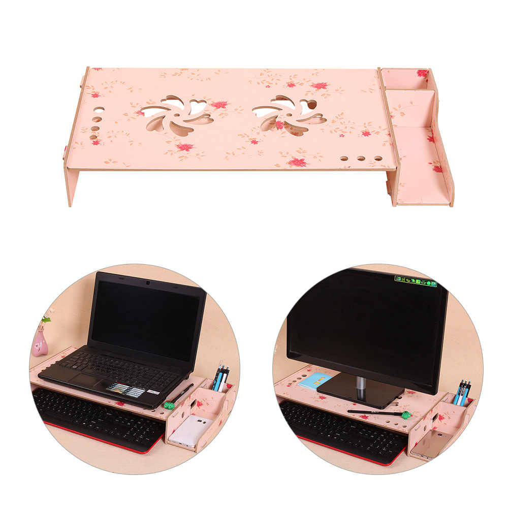 Деревянный компьютерный монитор стояк для ноутбука полка Настольный органайзер с клавиатурой для хранения Регулируемая высота для офиса школы