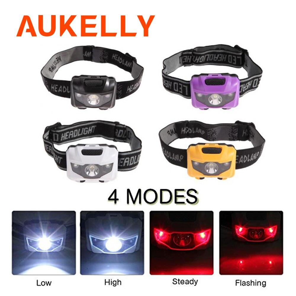 Aukelly Mini LED Headlamp lightweight Waterproof Head Torch Camping Cap Flashlight Travel Hike Running Headlight USE AAA battery