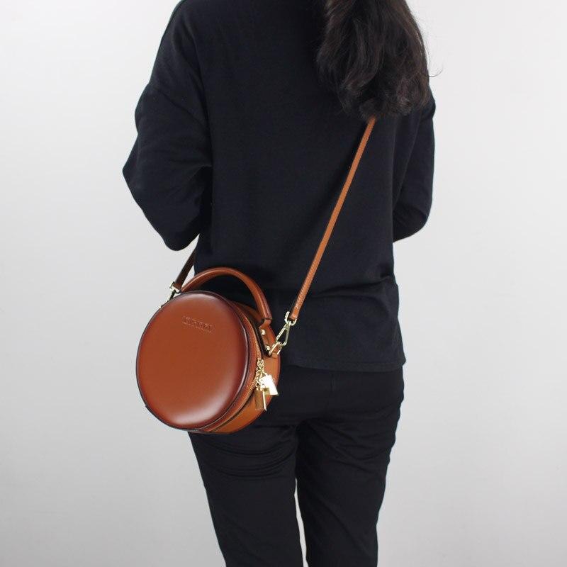 الأزياء البسيطة المرأة حقيبة يد جلد طبيعي 2019 جديد واحد الكتف عبر الجسم أكياس سيدة صغيرة حقيبة ساعي جولة حقيبة رافعة-في حقائب الكتف من حقائب وأمتعة على  مجموعة 1