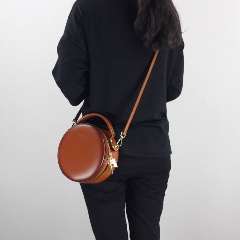 Fashion Mini Women Handbag Genuine Leather 2018 New One Shoulder Cross body Bags Lady Small Messenger Bag Round Sling Bag