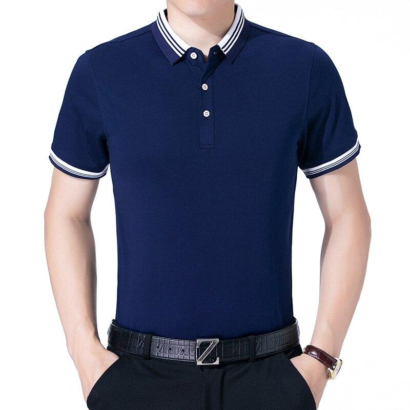 2018 New Men Slim   Polo   Pique Stretchy   Polo   Shirt Men Stripes Ribbed Collar Tops Short Sleeve Tee Shirt Camisa Masculina