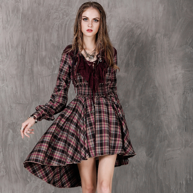 Autumn Dress 2016 Fincati Boho New Scotch plaid font b Tartan b font Women Ruffled Sleeve