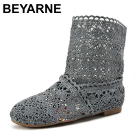 New 2014 Spring And Summer Women High Leg Boots Knitting Hollow Ankle Boots Women S Shoes