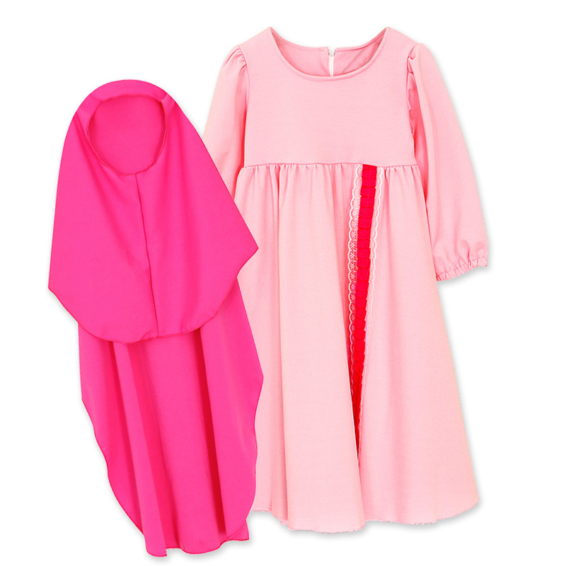 3Pcs Muslim Girls Kids Maxi Dress+Hijab Scarf+Bow Set Islamic Kaftan Abaya Party