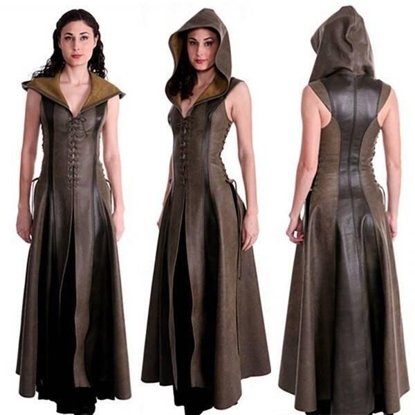 Femmes Cosplay à capuche Archer Costume en cuir longue robe sans manches médiévale femmes costume guerrier Costume