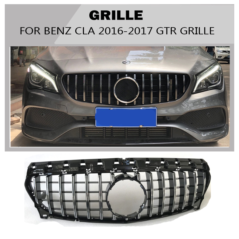 cla gtr Grille black Emblem Front Bumper mesh Radiator  Grill for Formercedes-benz  cla -class 2017~2018 Car  STYLING grille
