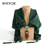 BOEYCJR 6 Colors Available Scarf Tassel Pendant Necklace Handmade Chinese Ethnic Jewelry Vintage Stone Necklaces For
